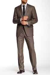 Hart Schaffner Marx Chicago Brown Plaid Two Button Notch Lapel Wool Suit