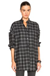 Helmut Lang Shoulder Tab Top In Gray Checkered And Plaid Gray Checkered And Plaid