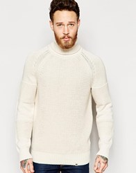Pretty Green Roll Neck Jumper With Panels Stone