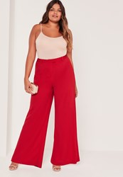 Missguided Plus Size Wide Leg Trousers Red Red