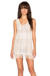 Goddis Zane Fringe Mini Dress Beige