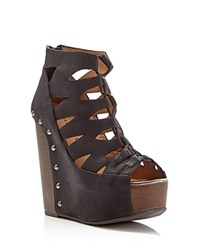 Chinese Laundry Jiff Caged Wood Wedge Sandals Compare At 89.95 Black