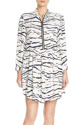 Women's French Connection Print Crepe Shirtdress Summer White Multi Black