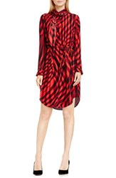 Vince Camuto Women's Belted Check Tie Neck Shirtdress