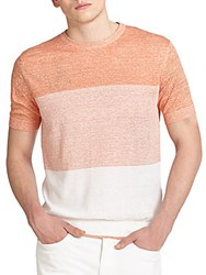 Z Zegna Striped Linen And Cotton Tee Light Orange