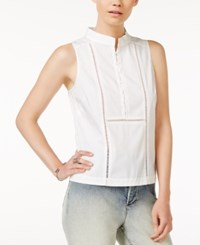 Armani Exchange Sleeveless Crochet Detail Shirt Solid White