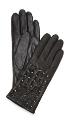 Carolina Amato Studded Classic Leather Gloves Black