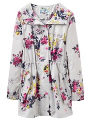 Joules Right As Rain Golightly Printed Waterproof Parka Silver Floral