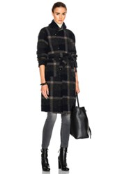 Engineered Garments Wool Knit Plaid Robe In Gray Blue Checkered And Plaid Gray Blue Checkered And Plaid