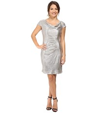 Tahari By Arthur S. Levine Petite Foil Knit Cowl Neck Silver Powder Women's Dress