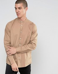 Asos Camel Shirt With Grandad Collar In Regular Fit Camel Beige