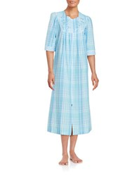 Miss Elaine Embroidered Mumu Duster Robe Blue Plaid