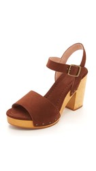 Madewell Jo Studded Wooden Heel Sandals Rich Brown