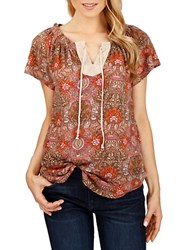Lucky Brand Patterned Peasant Top Red Multi