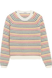 Miu Miu Striped Wool Blend Sweater Ivory