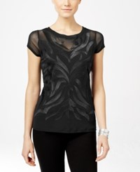 Inc International Concepts Short Sleeve Embroidered Blouse Only At Macy's Deep Black