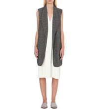 Vince Longline Wool And Cotton Blend Gilet Grey Melange