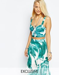 Religion Cropped Bralet Top In All Over Tropical Leaf Print White And Green Multi