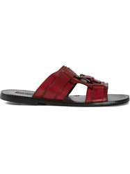 Dolce And Gabbana Buckled Sandals Red