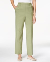 Alfred Dunner Pull On Straight Leg Pants Sage