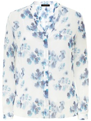 Jaeger Silk Ghost Blouse Multi Blue