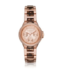 Michael Kors Camille Pave Faux Tortoise And Rose Gold Tone Watch