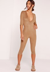 Missguided Faux Suede Short Sleeve 3 4 Leg Jumpsuit Tan Brown