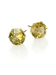 Ippolita Rock Candy Green Gold Citrine And 18K Yellow Gold Stud Earrings Gold Green