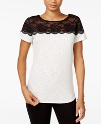 Maison Jules Lace Trim Polka Dot Top Only At Macy's Egret Combo
