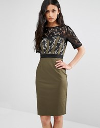 Paper Dolls Lace Midi Pencil Dress With 3 4 Sleeve Khaki Black Beige