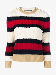 Gucci Striped Wool Knitted Top Multi Coloured Pearl White Blue Cream Navy O