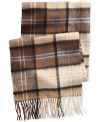 Club Room Plaid Cashmere Scarf Only At Macy's Brown Khaki