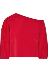 Tibi One Shoulder Stretch Faille Top Red