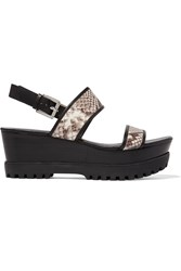 Michael Michael Kors Gillian Snake Effect Leather Wedge Sandals Animal Print