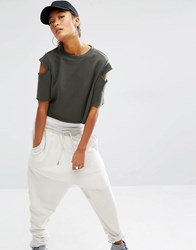 Daisy Street Sweat Crop Top With Cold Shoulder Khaki Green