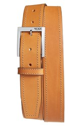 Tumi Men's Leather Belt Nickel Satin Tan