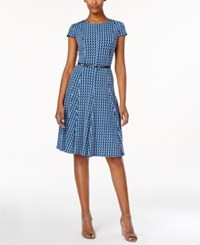 Jessica Howard Petite Geo Print Belted Fit And Flare Dress Blue