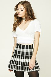 Forever 21 Plaid Flared Mini Skirt Black White