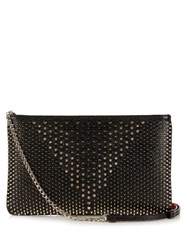 Christian Louboutin Loubiposh Jurassic Spike Embellished Pouch Black Silver