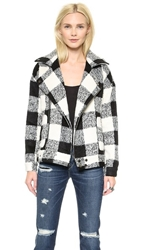 J.O.A. Buffalo Plaid Jacket Black White