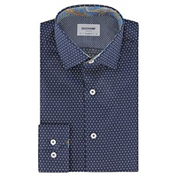 Duchamp Spot Contrast Slim Fit Shirt Smalt