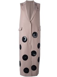 Msgm Maxi Dots Sleeveless Coat Nude Neutrals