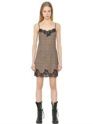 Ermanno Scervino Plaid Wool And Lace Slip Dress