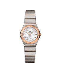 Omega Constellation Rose Gold Detail Watch Unisex Silver