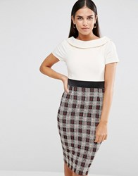 Vesper Pencil Dress With Check Skirt Ivory Check Cream