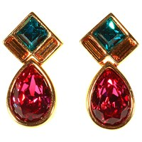 Alice Joseph Vintage Swarovski Gold Plated Diamante Drop Earrings Tourmaline Pink Emerald Green
