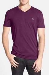 Men's Lacoste Pima Cotton Jersey V Neck T Shirt Urchin Purple