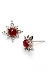 Nadri Women's Holiday Star Stud Earrings Garnet Silver