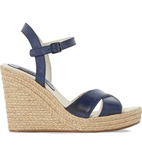 Dune Kayden Leather Wedge Sandals Navy Leather