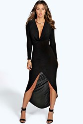Boohoo Slinky Ruched Long Sleeve Maxi Dress Black